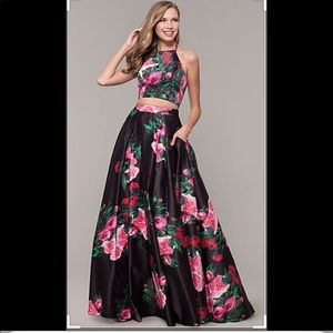 Two piece black floral print Jovani dress